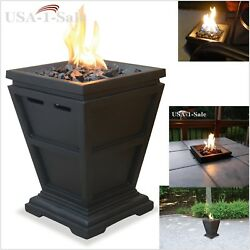 LP Gas Outdoor Table Top Fireplace with Black Fire Glass Stainless Steel Burner