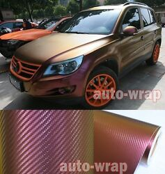 Full Roll Car 3D Chameleon Carbon Fiber Vinyl Wrap Sticker Gold  P 98FT x 5FT A