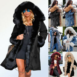 Roiii Womens Plus Size Faux Fur Parka Hooded Fur Lining Thicken Warm Winter Coat $62.98