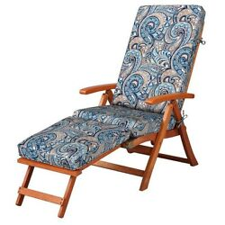 Blue Taupe Paisley Patio Outdoor Steamer Chair Cushion Replacement Pad
