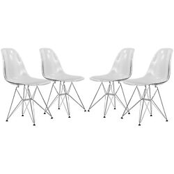 High Back Dining Chair Set Clear Eiffel Home Office Furniture Plastic Modern