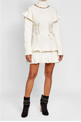 NWT $2545 ALEXANDER MCQUEEN Lace-Up Turtleneck Sweater Dress Size Small