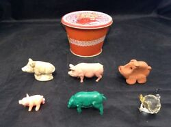 Mixed Pigs Toy Lot Plastic Pig Toys Miss Piggy Muppet Babies Tin Red Rose Tea $16.50