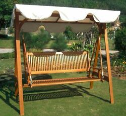 Garden Swing With Canopy Outdoor Wooden Slats Shade Backyard Porch 2-Seater Lawn