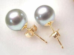 New Yellow Gold Plated 10mm Light Gray South Sea Shell Pearl Stud Earrings