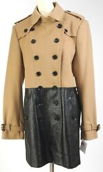 NEW BURBERRY Trench Coat Jacket 2 Tone Camel Wool Cashmere Size 14 L 48 Women's