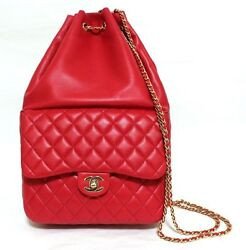 Authentic CHANEL Quilted CC chain backpack Red lambskin bag (380359)