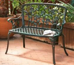 Small Green Garden Bench Iron Outdoor Roses Leaves Patio Lawn Seating 2-Person