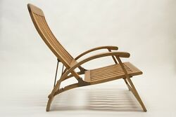 Designer teak wood & brass reclining lounge chair set (two) perfect condition