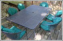 Vintage Wrought Iron Table with 6 Chairs Patio Furniture with Green Cushion