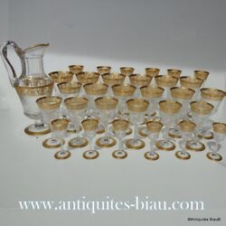 Set 30 glasses + decanter crystal stamped Saint Louis Thistle Gold model PERFECT