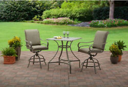 Outdoor Dining Set 3 Pc High Swivel Chairs Table Furniture Lawn Patio Deck Brown