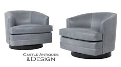 Pair of Mid-Century Modern 1960s Swivel Milo Design Lounge Chairs New Leather