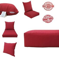 NEW Outdoor Deep Seat Cushions For Patio Chairs Furniture Red Of  24x24 ORIGINAL