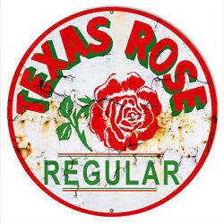 Texas Rose Motor Oil Reproduction Vintage Gas And Motor Oil Metal Sign 14x14 $34.00