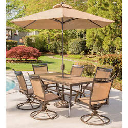 Outdoor Dining Set Patio Swivel Rocker Chair Tile Top Table Umbrella Shade Stand