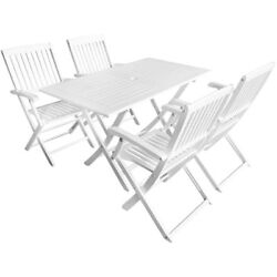 White Folding Patio Dining Table Set Outdoor Hardwood Chairs Garden Furniture