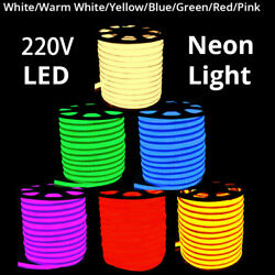 1M-50M LED Neon Rope Lights 220V Commercial Flex Tube Sign Decorative In-Outdoor