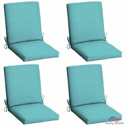 Turquoise Replacement Patio Chair Cushion Set of 4 Outdoor Dining Cushions Seat