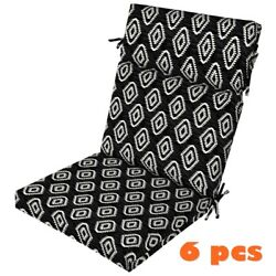 Black Ikat Outdoor Seat Cushion Set of 6 Replacement Cushions Patio Chair Pads