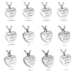 Love Heart Cremation Jewelry for Family Keepsake Memorial Ashes Urn Necklace