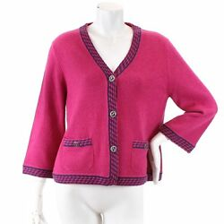 Auth CHANEL Cardigan Pink P40 Cashmere 42 Three-quarter sleeve Women 90049894