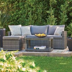 3 Piece Gray Resin Wicker Sectional Cushioned Patio Furniture Set With Storage
