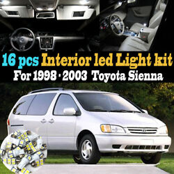 16Pc Super White Interior LED Light Bulb Kit Package for 1998-2003 Toyota Sienna