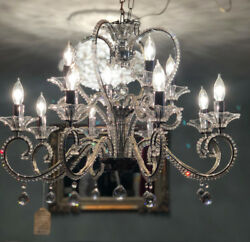 Maria Theresa Chrome 12 Light 28-Inch Chandelier with Italian Royal Crystal Rock $1,295.00