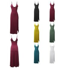 FashionOutfit Women#x27;s Solid Sexy Cami Strap Side Split Cocktail Party Maxi Dress $9.74