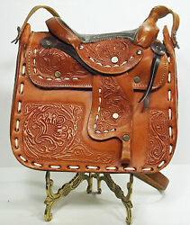 Purse Hand Tooling Floral Stamped Leather Horse Saddle Handbag (2L3B22*)