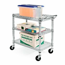Utility Cart wheels Heavy Duty Commercial Grade 3 Tiers Storage Kitchen Pantry