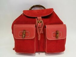 Authentic Vintage GUCCI  Bamboo Backpack in Red
