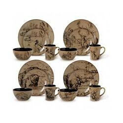 Rustic Dinnerware Set Mossy Oak Dishes Deer Cabin Plates Country Dinner Brown