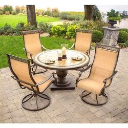 Patio Dining Set Swivel Sling Rocker Arm Chairs Marble Tile Table Pool Deck Tan