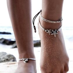 Beads Pendant Anklet Foot Chain Ankle Starfish Bracelet Charm Double Chain Ankle