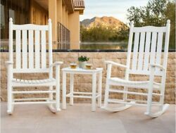 Rocking Chair White Table Set Patio Lumber Wood Porch Chairs Outdoor Polywood