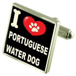 I Love My Dog Sterling Silver 925 Cufflinks Portuguese Water GBP 95.00