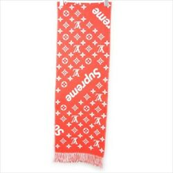 LOUIS VUITTON LV Supreme Muffler Scarf Stole Red Monogram Wool Cashmere Used