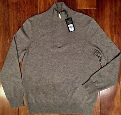 POLO RALPH LAUREN Men's 100% Italian Yarn Cashmere Sweater Half Zip Fawn Grey L