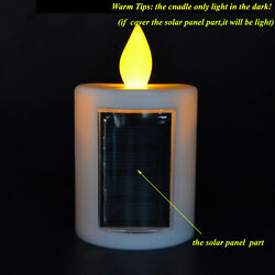 Flameless Solar Power Pillar LED Candle Battery Operated for Outdoor Decoation $8.99