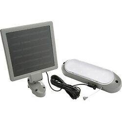 Designers Edge 10-LED Rechargeable Solar-Panel Shed Light Gray