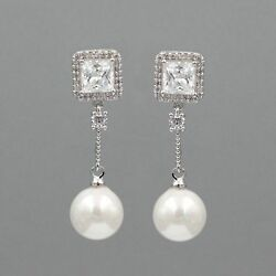 White Gold Plated Shell Pearl Cubic Zirconia Wedding Drop Dangle Earrings 00292