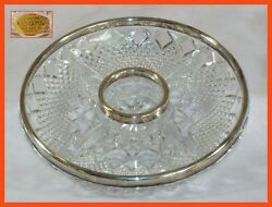 "Vintage 24% PbO Lead Crystal Appetizer Tray - 11"" - wSilver Plated Rim - W Ger."