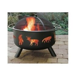 Outdoor Fire Pit Wood Burning Fireplace Wildlife Bowl Backyard Patio Heater New