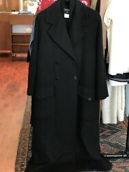 CHANEL Double Breasted Long Wool & Cashmere Coat Size 38