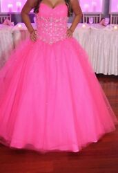 sweet16 prom party dresses for girls women; hot pink fits sizes 6 8 rhinestone $270.00