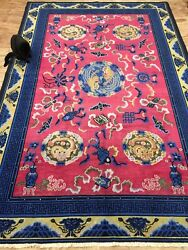 Antique Handmade Chinese Art Deco Used Rug Wool&Cotton Size:295cm By 197cm