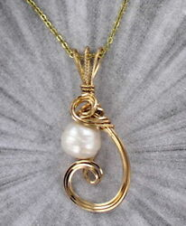 Genuine Pearl Pendant Necklace in 14kt Rolled Gold With Chain Wire Wrapped $47.00