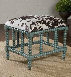 Tuscan Rustic Ranch Turquoise Cowhide Cow Ottoman ~ Gorgeous Lodge Cabin Decor
